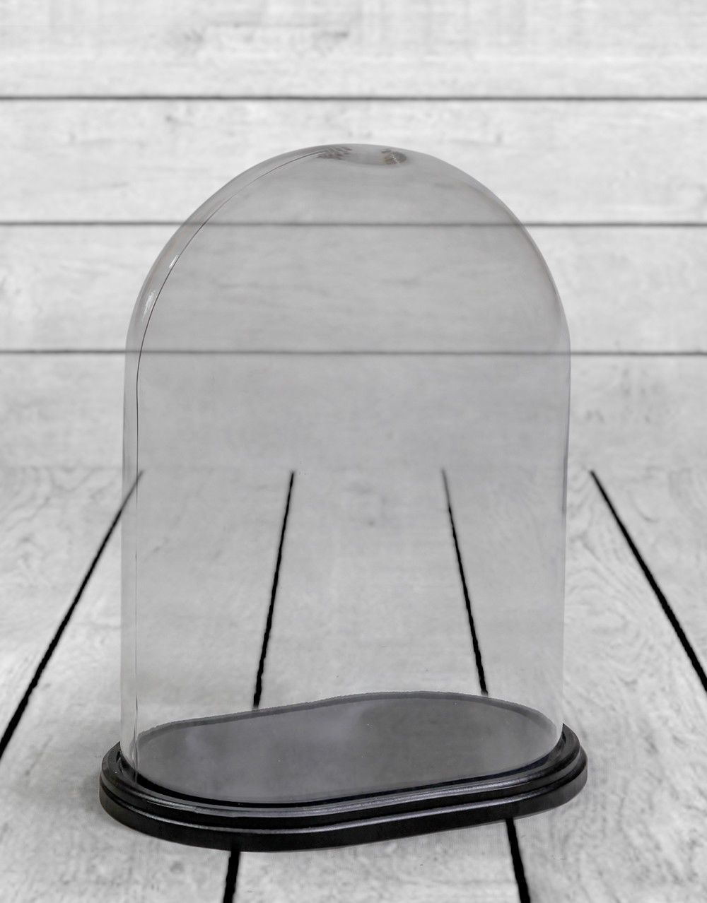 Oval Glass Display Bell Jar Dome Cloche On Black Wooden